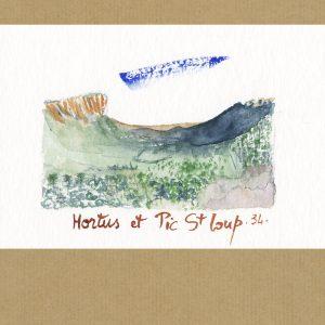 Aquarelle Hortus et Pic Saint Loup 34